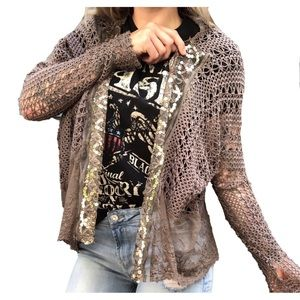 BKE Boutique Woven Net Cardigan Dirty Olive